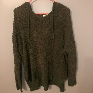 Army green fuzzy hoodie